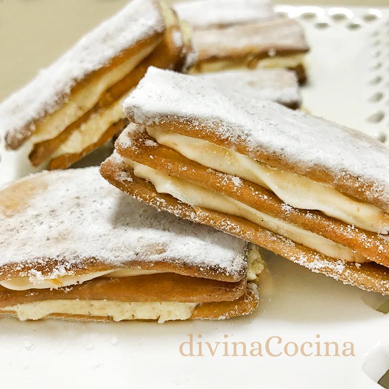receta de sándwich de galleta y crema pastelera