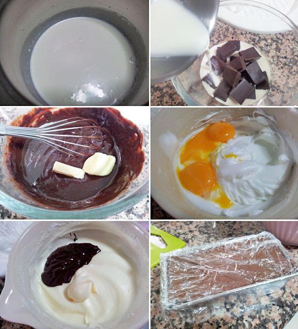 semifrío de chocolate paso a paso