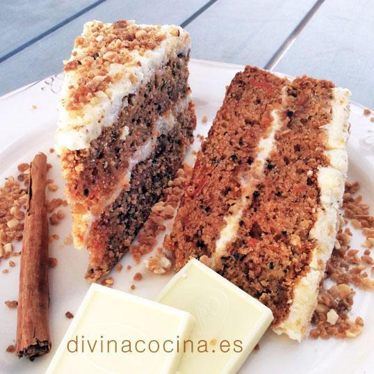 Tarta de zanahorias y chocolate blanco