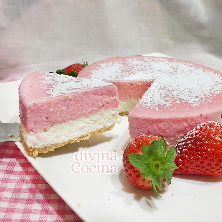 receta de tarta de nata y fresas
