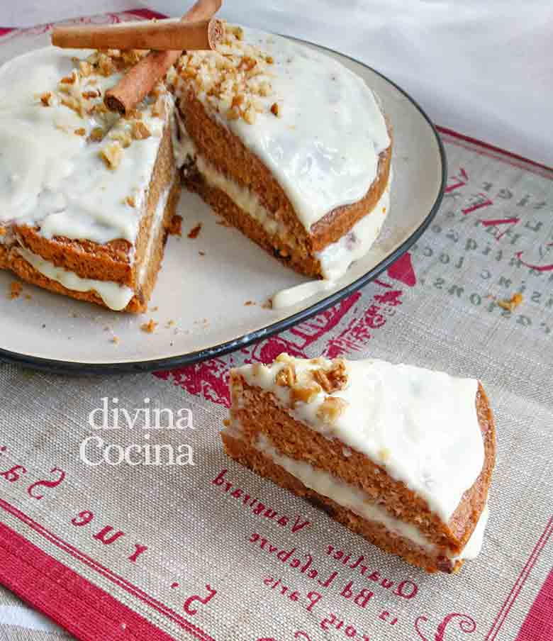 receta de tarta de zanahorias y chocolate blanco