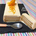 Tarta helada de naranja y galletas