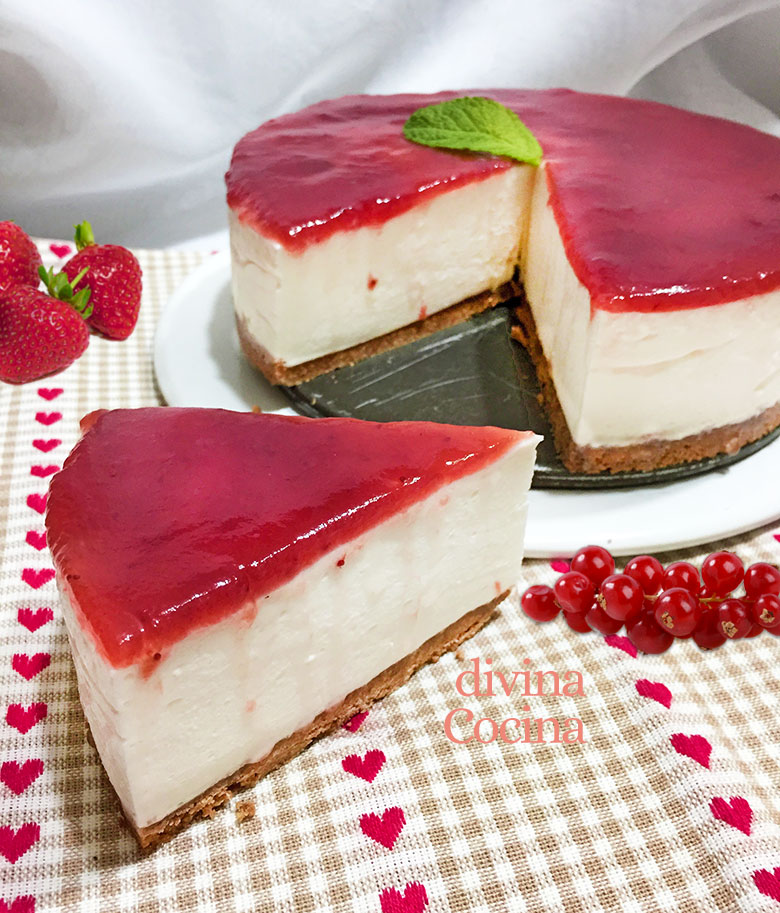 Tarta Panna Cotta con mermelada sin horno
