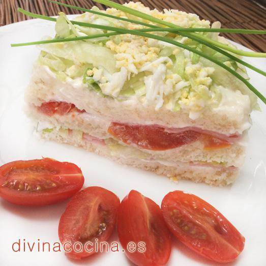 Tarta vegetal de pan de molde