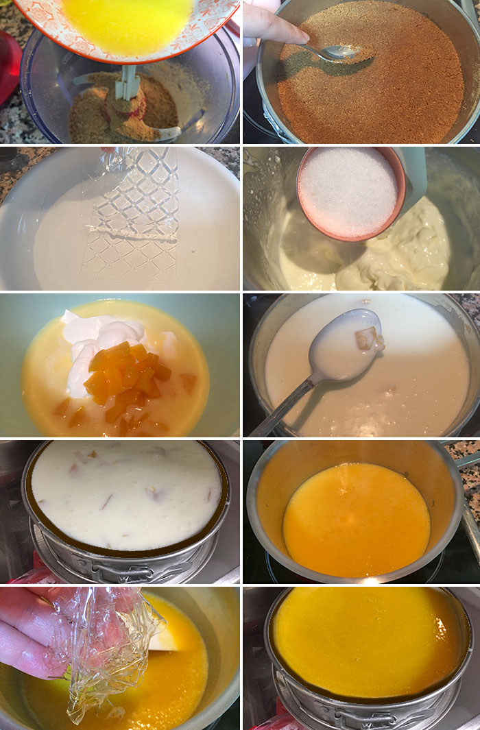 tarta de yogur melocoton paso a paso