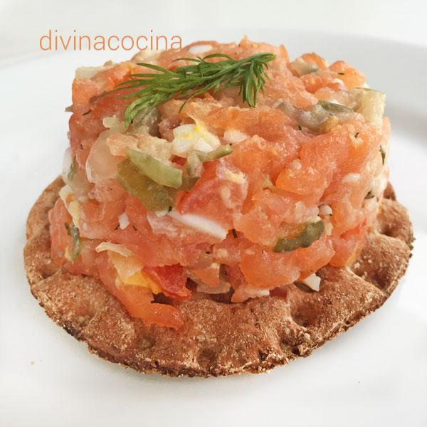 tartar de salmon para navidad