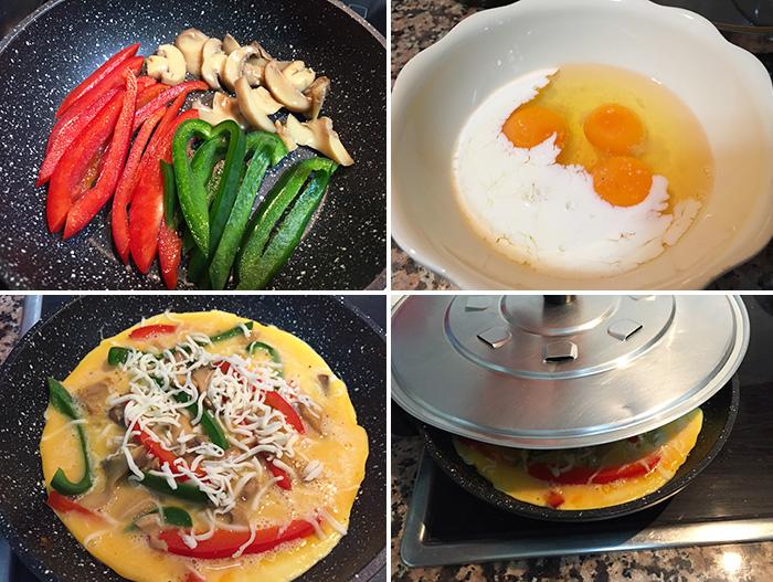 tortilla abierta de verduras paso a paso