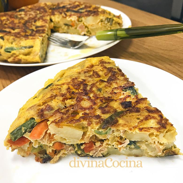 tortilla patatas atún y verdura