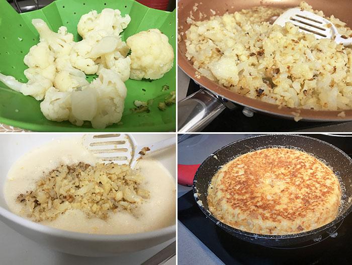 tortilla de coliflor paso a paso
