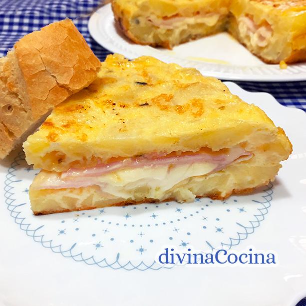 tortilla de patatas jamon y queso 2