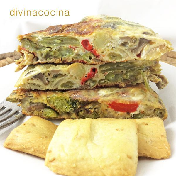 Tortilla de verduras rápida