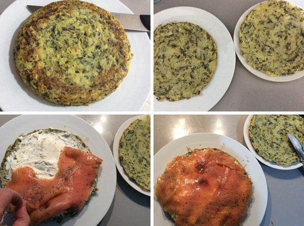 receta de tortilla de espinacas rellena de salmon