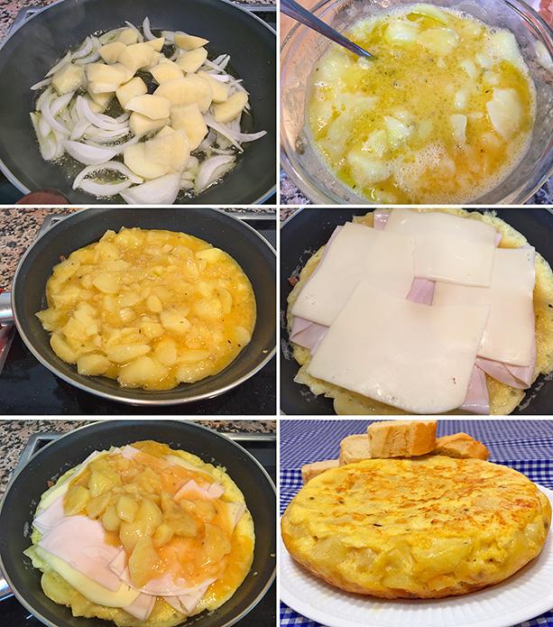 tortilla de patatas jamon y queso paso a paso