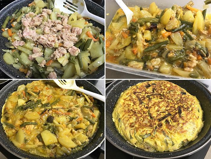 tortilla patatas atún y verdura paso a paso