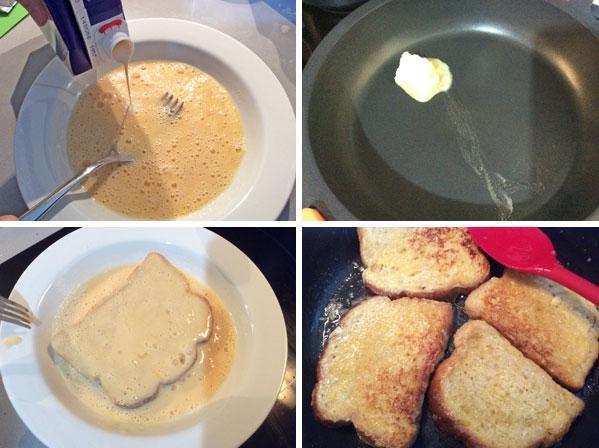 tostadas francesas con manzana caramelizada