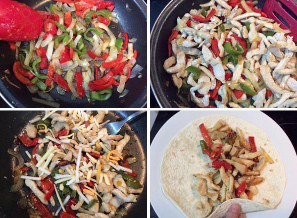 wrap de pollo y pimientos paso a paso